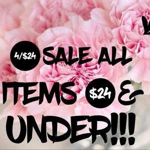 SALE! 4/$24 all items $24 & Under!